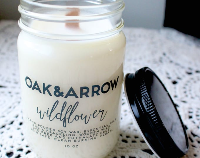 WILDFLOWER//Soy Wax Wood Wick Candle//Hand Poured Soy Candle//10oz