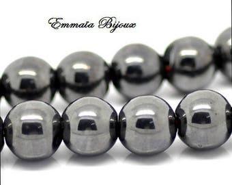 8 round beads 10 mm Hematite
