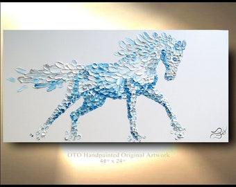 Horse Painting on Canvas Decor Art Oil Original Artworks White Arabian Stallion Equestrian animal illustration by OTO