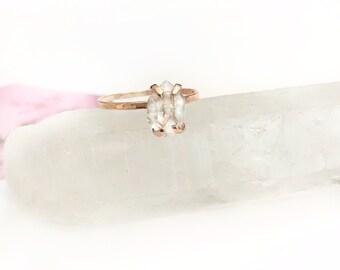 Herkimer Diamond Engagement Ring, Rose Gold Engagement Ring, 14K Gold Ring, Promise Ring, Diamond Engagement Ring, Herkimer Ring