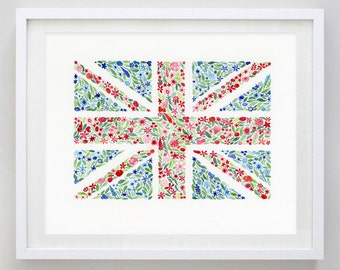 Union Jack Floral Watercolor Print
