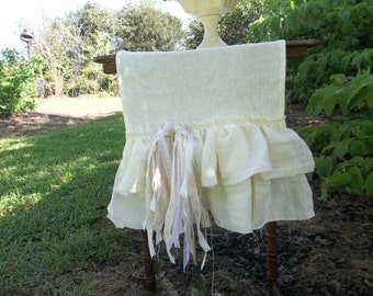Custom Multi Ruffle Table Runner Linen Table Runner  Wedding Decorations Table Decor French Country Cottage Chic Shabby