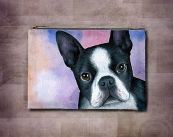 Cosmetic Bag Pouch Accessory for Purse Dog 128 Boston Terrier painting by Lucie Dumas