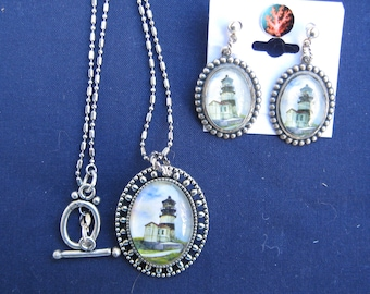 Lighthouse Pendant & Earrings: Watercolor Art, Cape Disappointment, beach, coastal, nautical, ocean, oval, antique silver, handmade