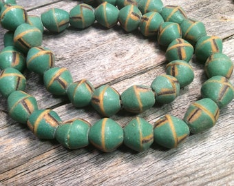 Green African Krobo glass beads, recycled glass beads, Rustic beads