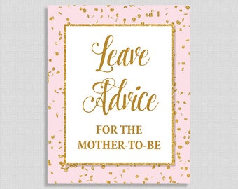Leave Advice For the Mother To Be Shower Sign, Pink & Gold Glitter Shower Table Sign,  Baby Girl, INSTANT PRINTABLE