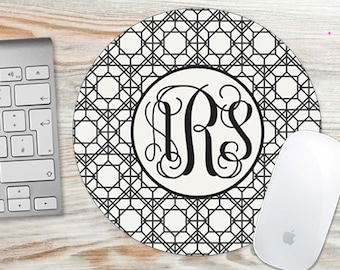 Personalized Mouse Pad Geometric Lines Black Cream- Monogrammed Mouse Pad - Round or Rectangle 7054