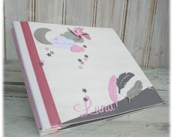 "TO order - guest book for wedding, baptism theme ""Moon, stars & feather"""