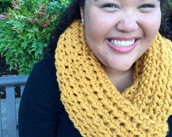 RTS Mustard Chunky Crocheted Infinity Scarf