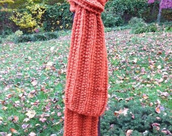 Baby Alpaca Scarf Pumpkin hand knit