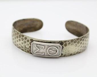 Vintage Silver Plate Sorority Fraternity Sigma Theta Greek Letter Cuff Bracelet. [2024]