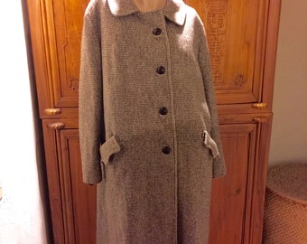 70s Retro Vintage Houndstooth Tweed Princess Back Belt Secretary Preppie Cottage Chic Wool Coat L