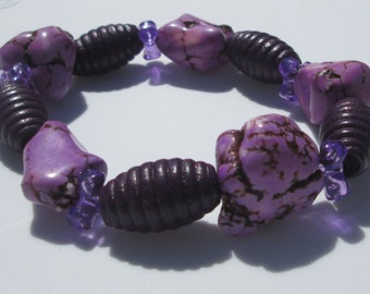Purple Stretch Bracelet purple stones wood acrylic bead design stretch bracelet hand made by Zipogiabella