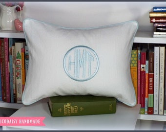 Framed Octagon or Circle Monogrammed Pillow Cover - Lumbar Size 12 x 16
