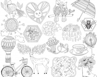 Spring Line Art Bundle, Season's PNG Illustrations, Spring ClipArt Doodle, Card Making Images, Bee Digital Stamp, Instant Download