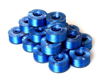 Prewound Bobbins Blue Colour Size A 10 or 20 Polyester Filament Machine Embroidery Thread Brother Color 405