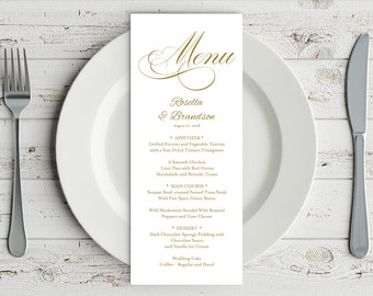 Gold Wedding Menu Template, Rustic Wedding Menu, Menu Printable, Menu Cards, Rustic Wedding, Wedding Dinner Menu, PDF Template, WPC_355