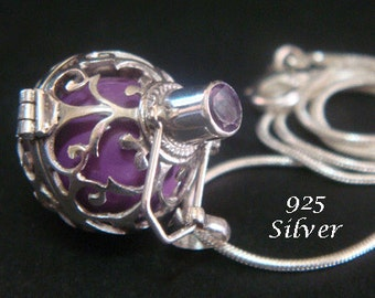Sterling Silver Harmony Ball Bola Necklace with AMETHYST Gemstone on 925 Cage with a Purple Chime Ball   Pregnancy Gift, Angel Caller 443