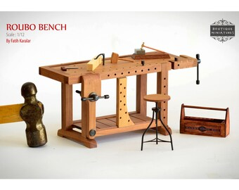 Miniature Roubo Bench, Scandinavian Workbench, Carpenter Table, Dollhouse, Furniture, Tool, Wise, Scale 1/12, Atelier, Workplace, artisan