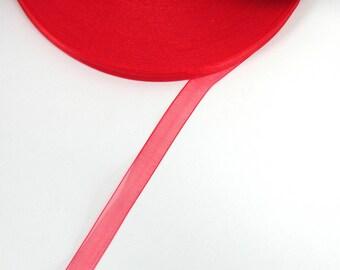 5 meters of 10 mm red organza Ribbon