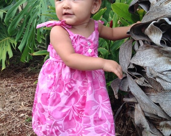 Infant Baby Girls Bodice Dress with Shoulder Tie Straps, Pink Hibiscus or Mermaid prints