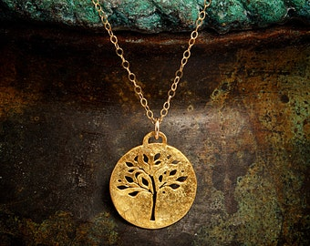 Gold Tree of Life Necklace - Round Vermeil Pendant with a pierced tree design.