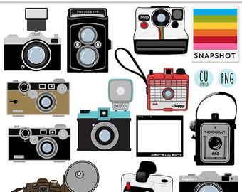 Retro Camera clip-art, graphics, digital scrapbooking, card-making, Ltd. CU, Stationery, Illustrations, vintage, Printable INSTANT DOWNLOAD