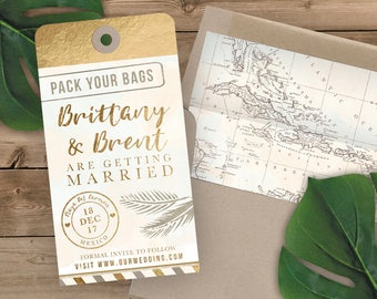 Luggage Tag Save the Date - Destination Wedding Save the Date Invitation - Faux Gold Foil and Watercolor