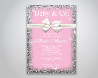 INSTANT DOWNLOAD - Baby & Co. Baby Shower Invitation, Breakfast at Tiffanys, Pink baby shower invitation, bow and sparkles, , OLDP_07