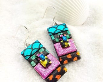 Dichroic glass earrings, fused dichroic earrings, Rainbow jewelry, dichroic jewelry, Dichroic earrings, statement earrings, glass fusion