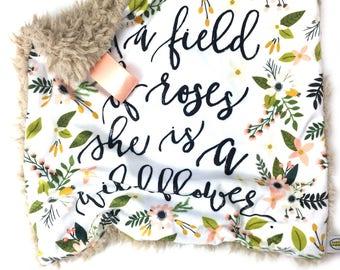 Floral Baby Lovey, Baby Girl blanket, Wild flowers Lovey,  Baby Blanket, baby lovey, Girl Lovey, Minky Lovey, Lovey Blanket