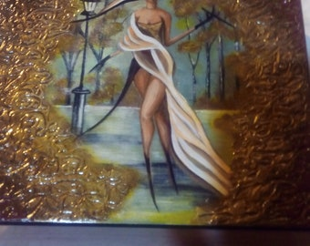 Cigar Box Art, Textured Acrylic, Gold