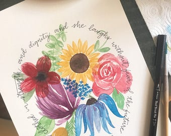 Proverbs 31:25 Floral Watercolor