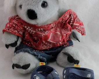"BUILD A BEAR WORKSHOP Gray Koala Bear 14"" with Country Shirt/Shorts/Sandals."