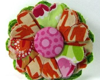 Fabric Flower Pin, Fabric Flower Brooch, raw edge flower, pink, green, orange - FP09
