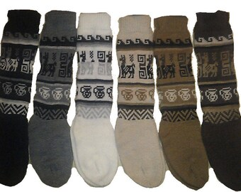 Fair Trade Fluffy Peruvian Alpaca Wool Funky Bright Socks (Mens or Womens) Size uk 4-9 184