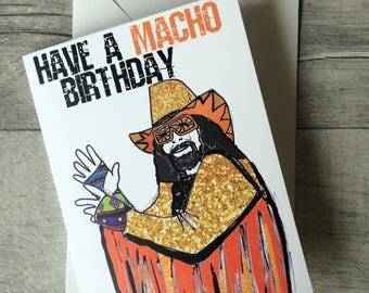 Macho Birthday- Wrestling Macho Man Randy Savage inspired card/invitation