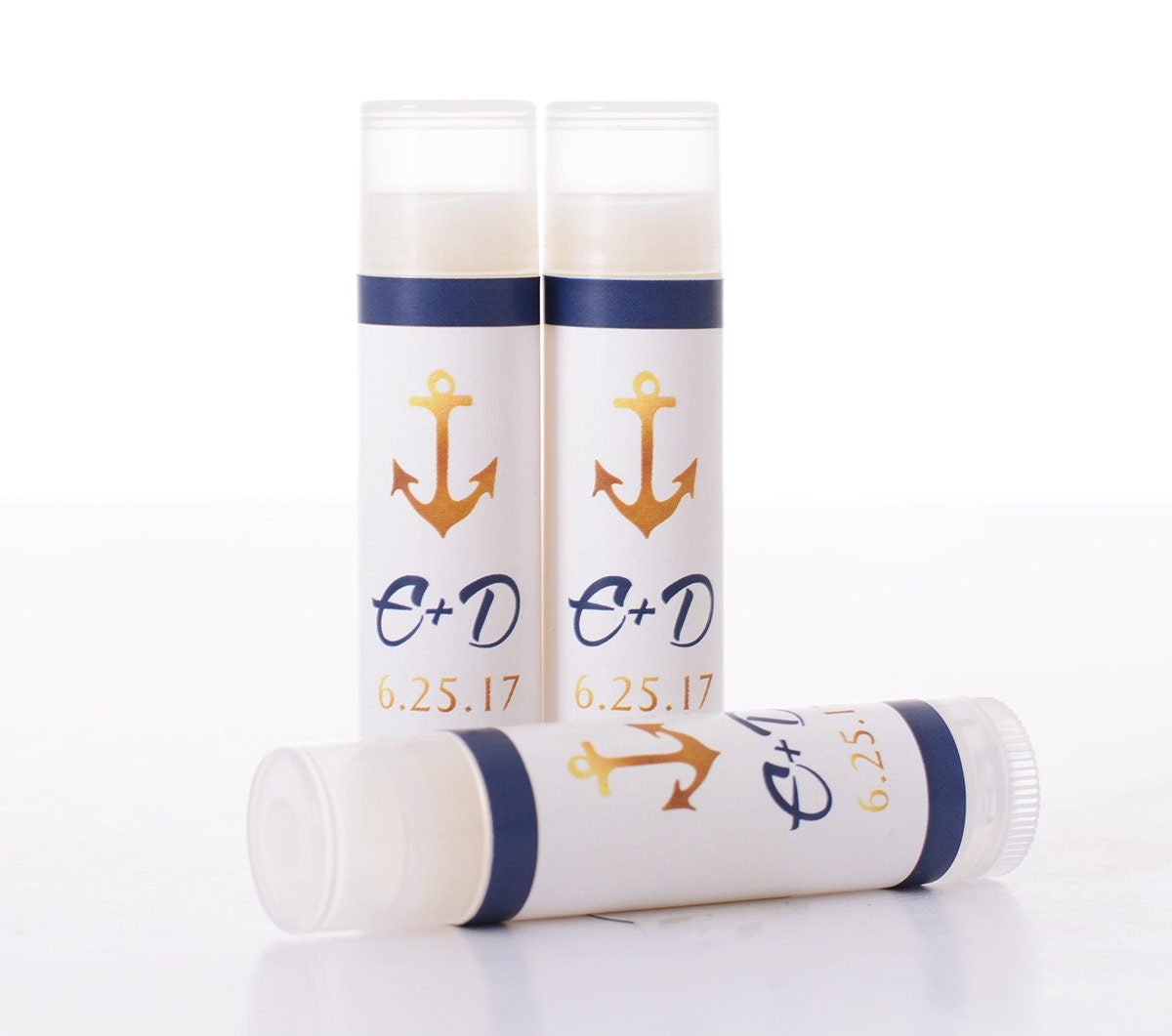 Nautical Wedding Favors 25 Lip Balm-Chapstick Stickers and