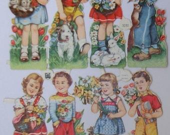 German die cut.Original die cut.Ephemera.Card making.Scrapbook supplies.Embossed die cuts.Vintage children die cuts.Spring.Pets.Colorful.