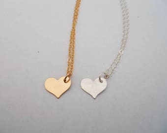 Heart Charm Necklace - Gold Filled or Sterling Silver