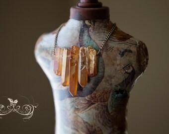 5 rainbow peach mystic titanium quartz Crystal Point Necklace