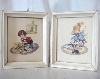 ON SALE! Vintage Pair of Children's Nursery Wall Art, Framed, Musical Instruments, Boy and Girl