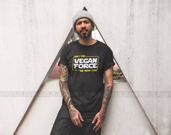 May The Vegan Force Be With You T-shirt / Vegan T-shirt  Premium Quality! / Fast Delivery to the USA , Canada , Australia & Europe !
