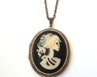 Large Zombie Locket, Cream and Black Cameo Locket Necklace, Lolita, Skeleton Locket, Skull Locket, Antique Bronze or Gunmetal Finish