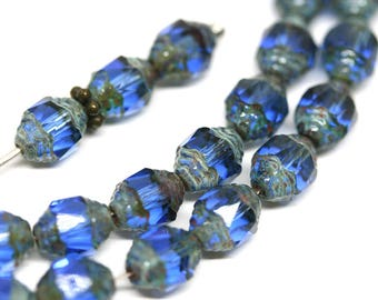 8x6mm Blue cathedral beads Picasso czech glass barrel beads Fire polished Sapphire blue beads 15Pc - 0927