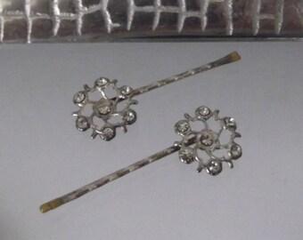 1 Sterling Silver Swarovski Crystal Hairpin, Designer Bridal, Handcrafted
