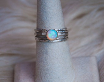 Ethiopian Opal Stacking Rings, Opal Ring, Stacking Ring, Fire Opal Ring