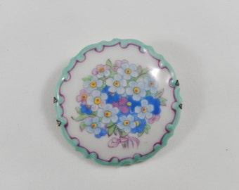 Vintage Rosenthal Marktredwitz Germania Handpainted Porcelain Brooch