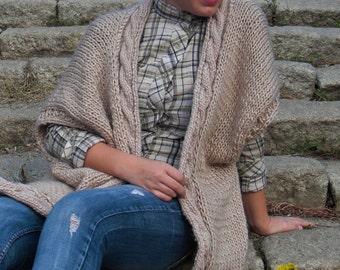 Hand knit cardigan Kimono cardigan Boho kimono Sleeveless cardigan Knit kimono Poncho sweater Cable knit sweater