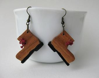 Wooden earrings / Shoe dangle earrings / gift / for her / handmade jewelry / rustic jewelry / wood boho earrings